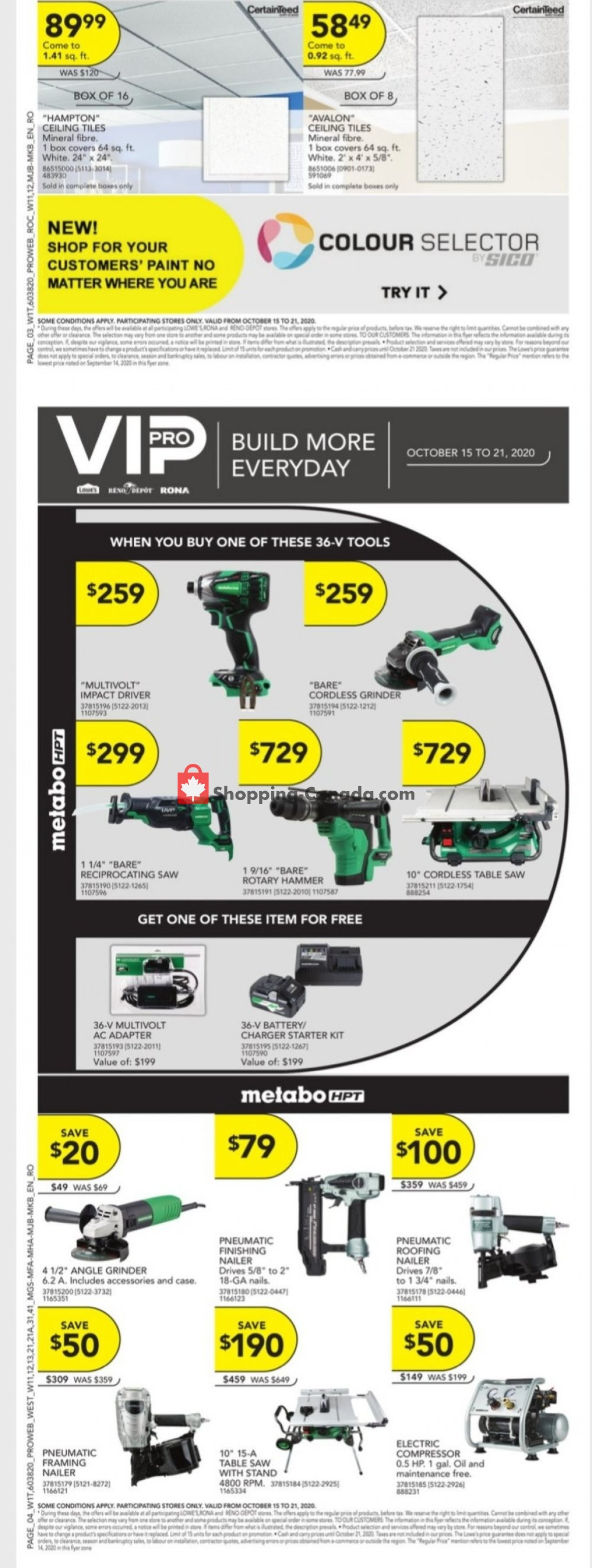 Flyer Lowe's Canada - from Thursday October 15, 2020 to Wednesday October 21, 2020