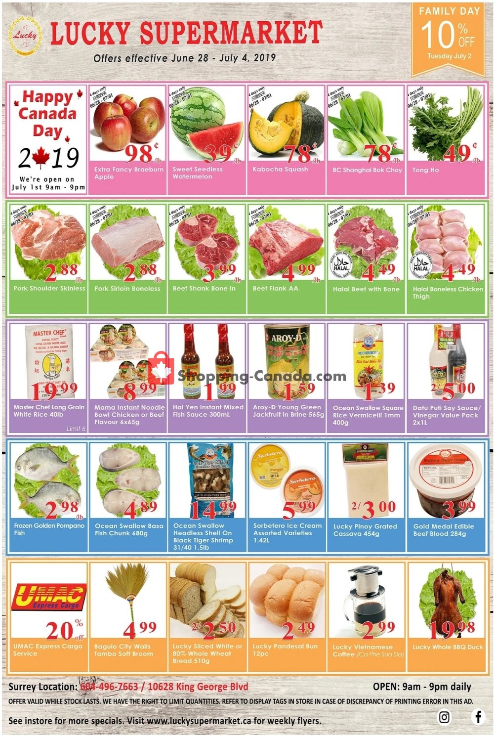 Flyer Lucky Supermarket Canada - from Friday June 28, 2019 to Thursday July 4, 2019