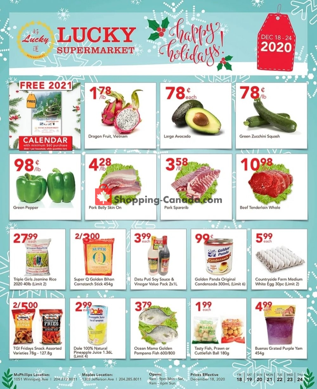 Flyer Lucky Supermarket Canada - from Friday December 18, 2020 to Thursday December 24, 2020