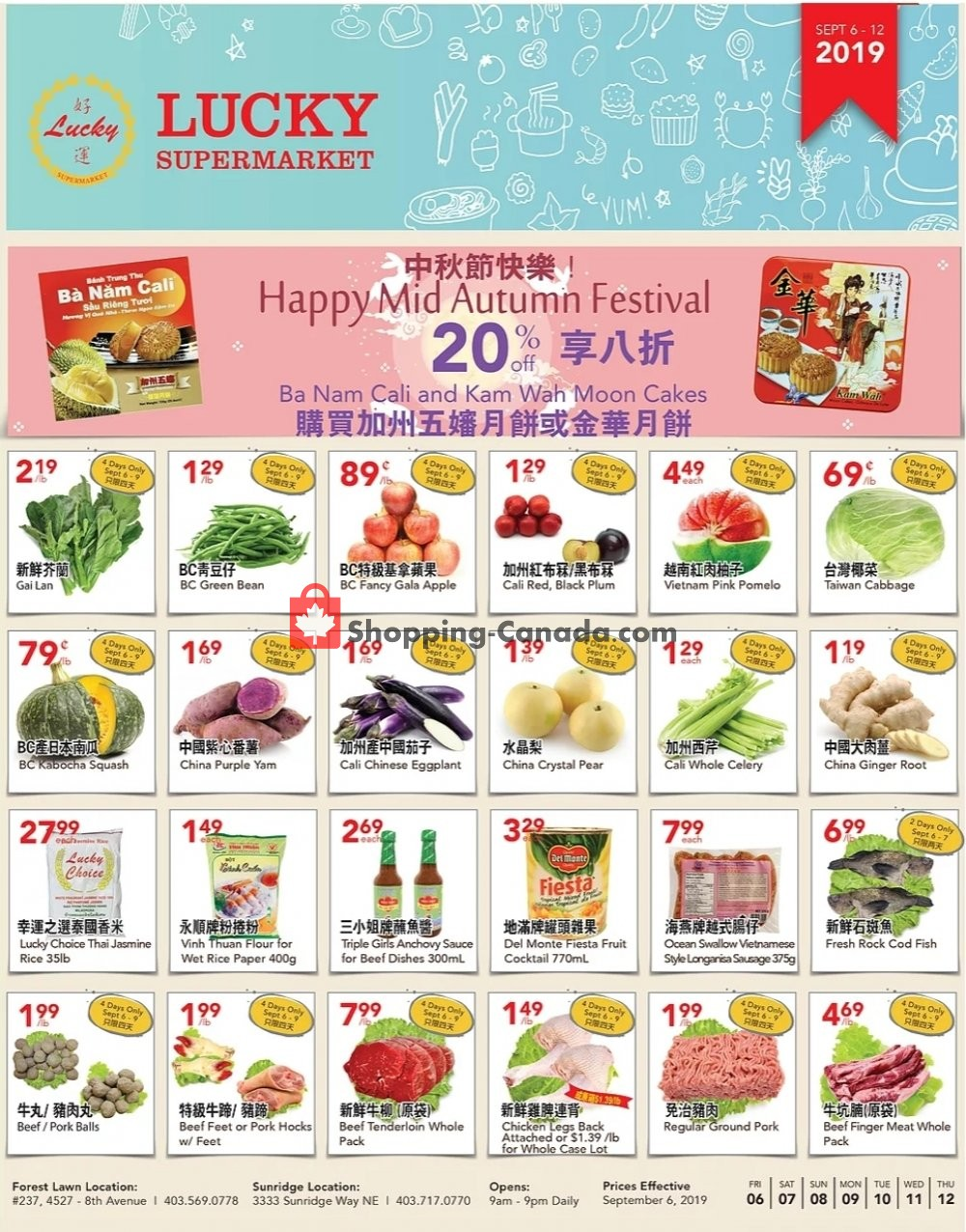 Flyer Lucky Supermarket Canada - from Friday September 6, 2019 to Thursday September 12, 2019