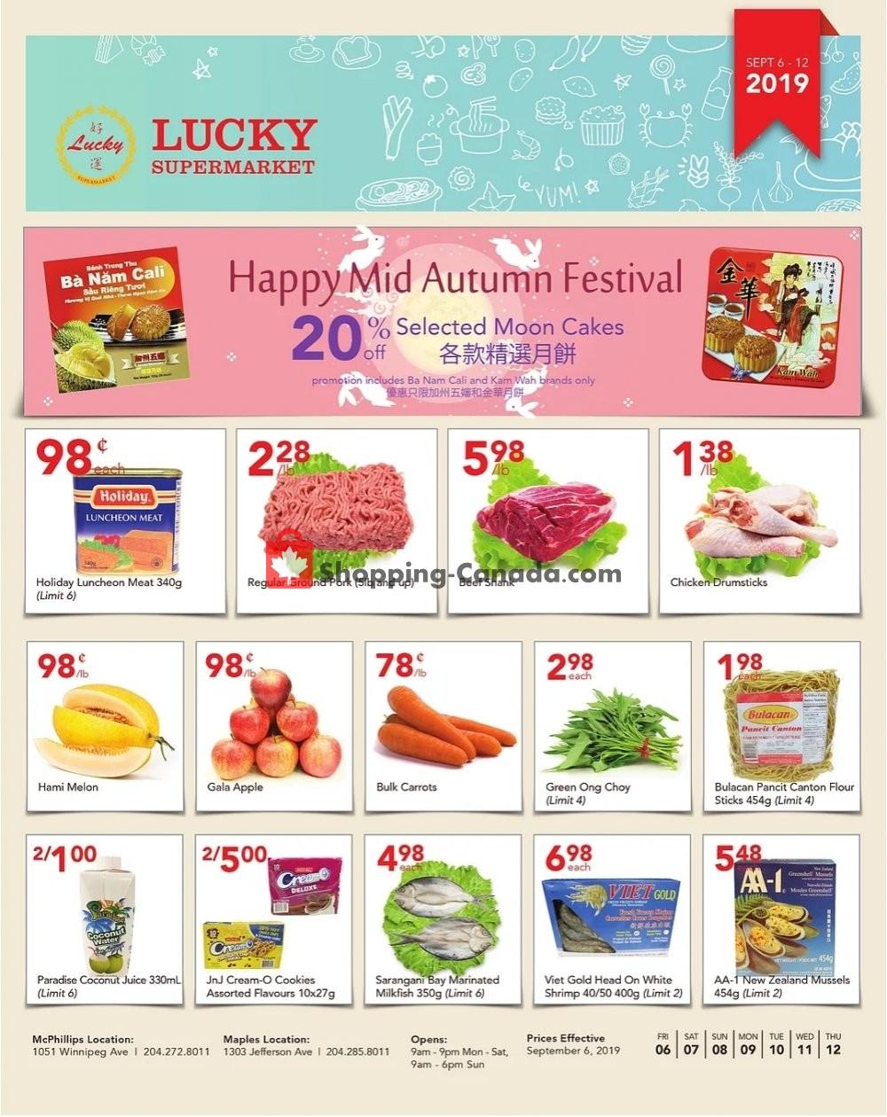 Flyer Lucky Supermarket Canada - from Friday September 6, 2019 to Thursday September 12, 2019