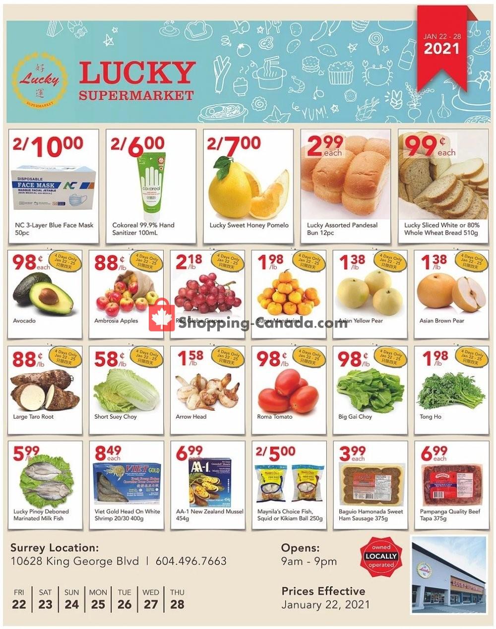 Flyer Lucky Supermarket Canada - from Friday January 22, 2021 to Thursday January 28, 2021