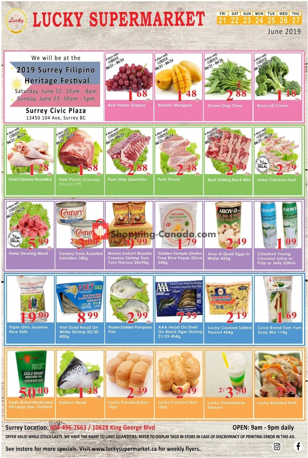 Flyer Lucky Supermarket Canada - from Friday June 21, 2019 to Thursday June 27, 2019