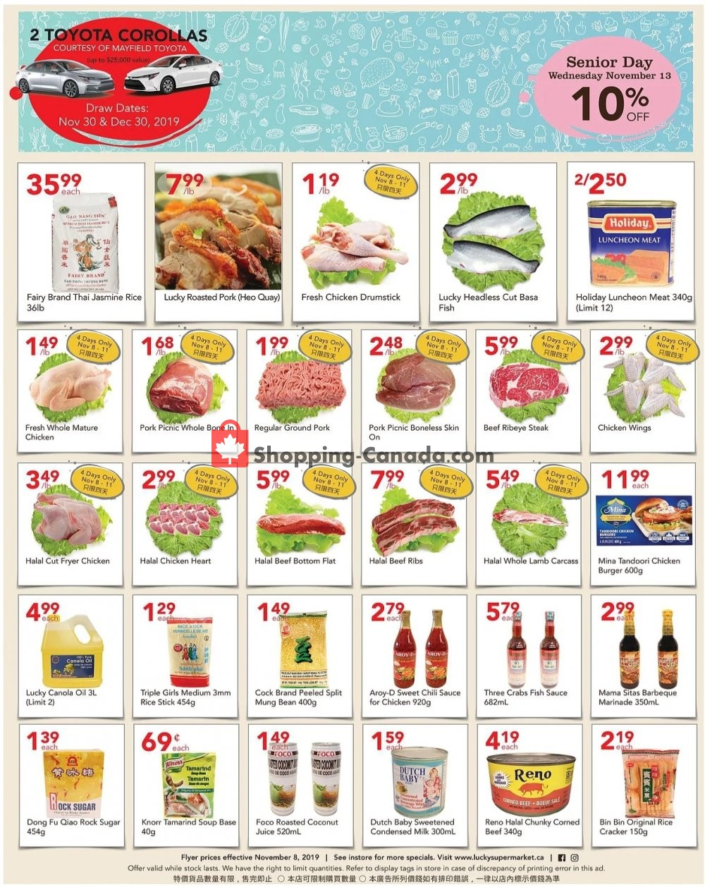 Flyer Lucky Supermarket Canada - from Friday November 8, 2019 to Thursday November 14, 2019