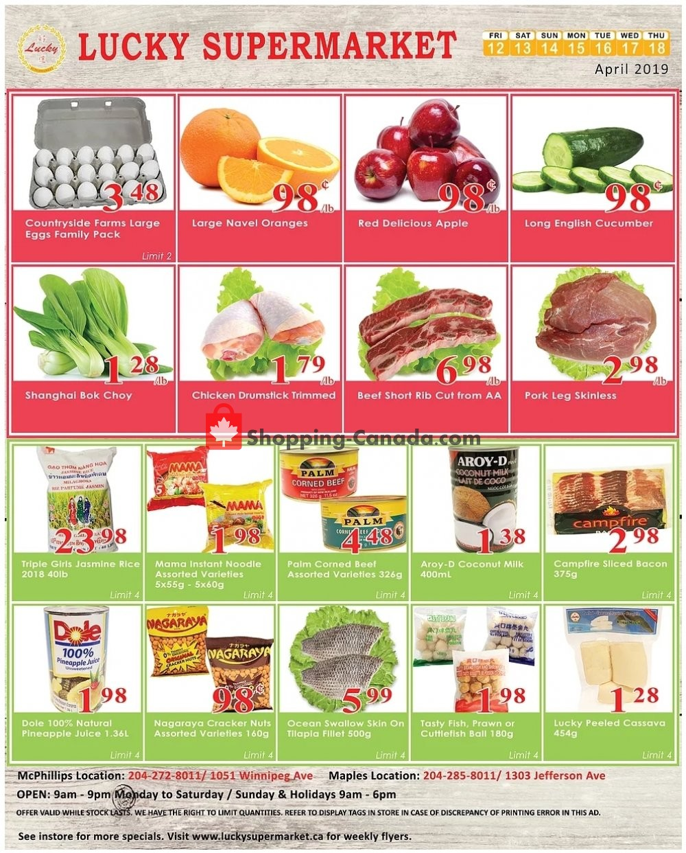 Flyer Lucky Supermarket Canada - from Friday April 12, 2019 to Thursday April 18, 2019