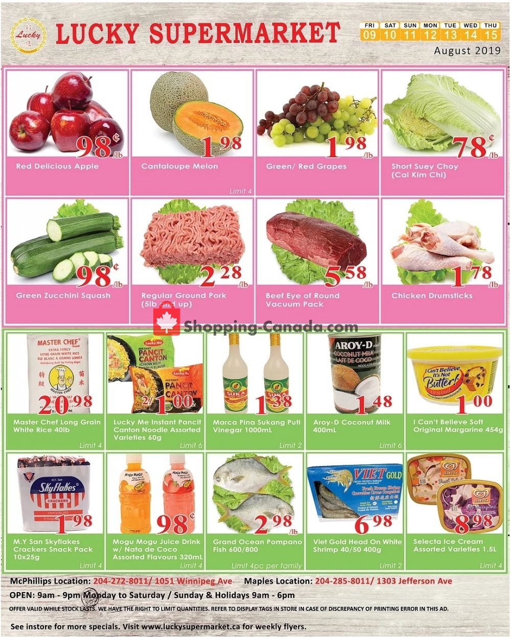 Flyer Lucky Supermarket Canada - from Friday August 9, 2019 to Thursday August 15, 2019