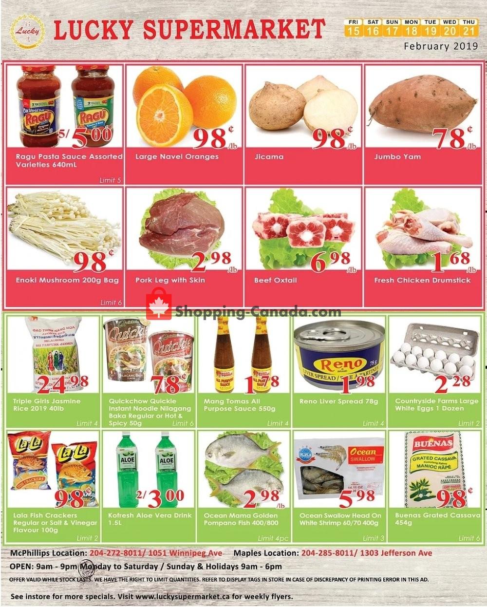 Flyer Lucky Supermarket Canada - from Friday February 15, 2019 to Thursday February 21, 2019