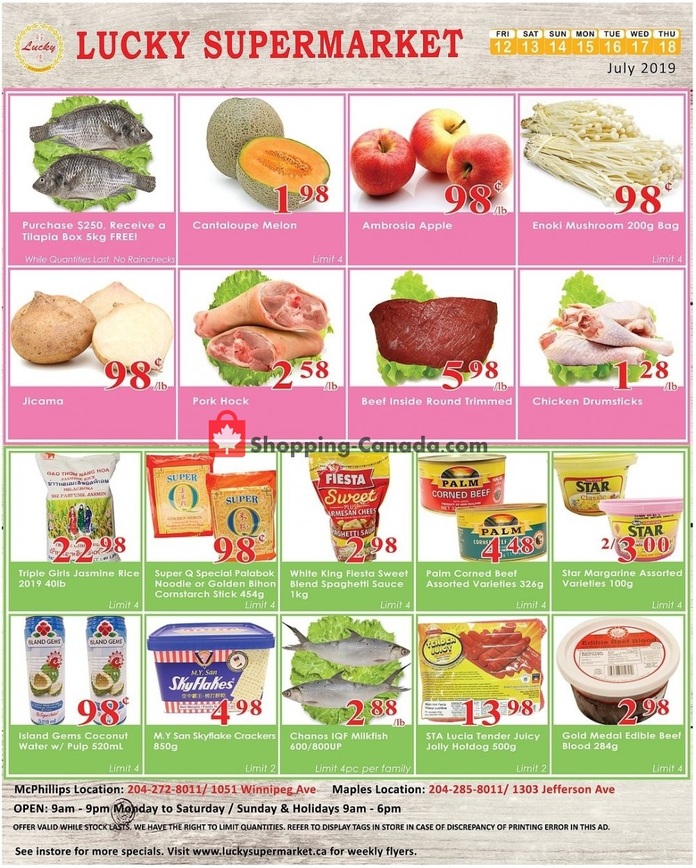 Flyer Lucky Supermarket Canada - from Friday July 12, 2019 to Thursday July 18, 2019