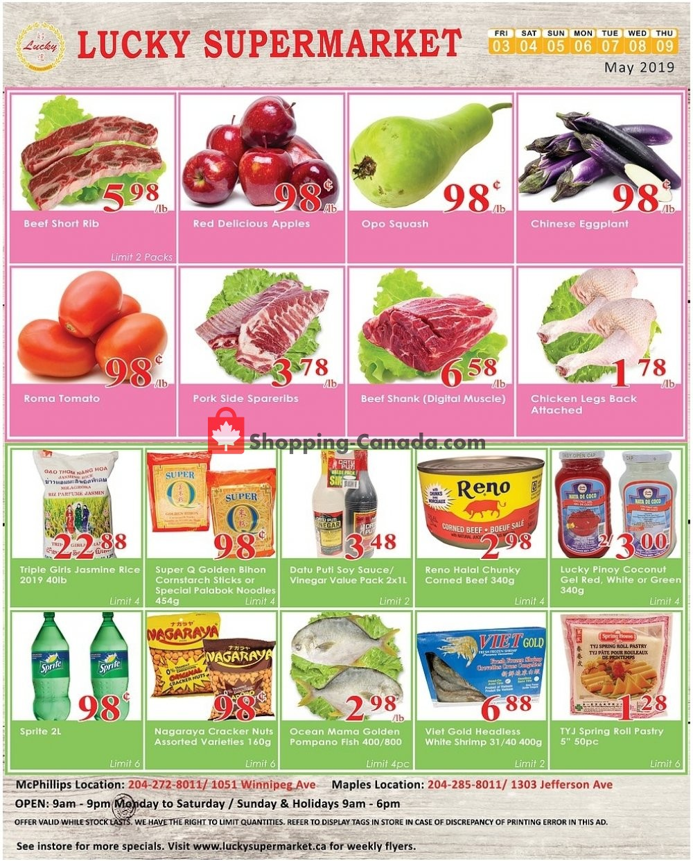 Flyer Lucky Supermarket Canada - from Friday May 3, 2019 to Thursday May 9, 2019