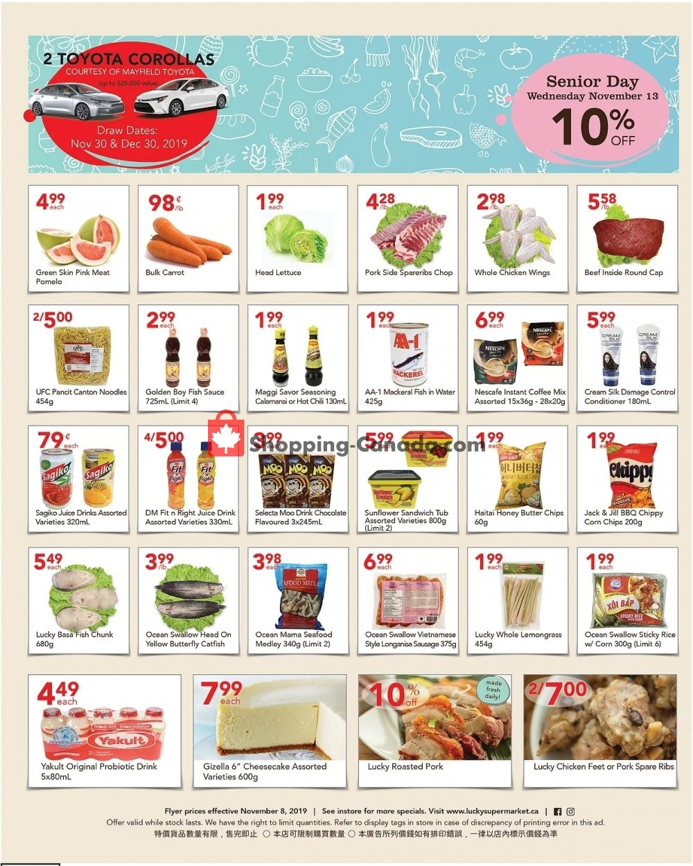 Flyer Lucky Supermarket Canada - from Friday November 8, 2019 to Thursday November 14, 2019