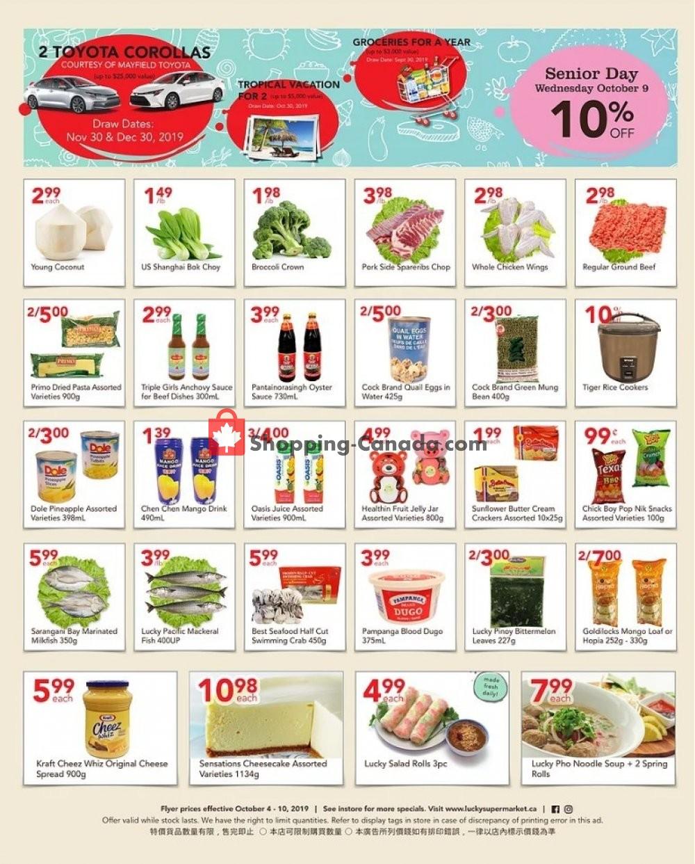 Flyer Lucky Supermarket Canada - from Friday October 4, 2019 to Thursday October 10, 2019