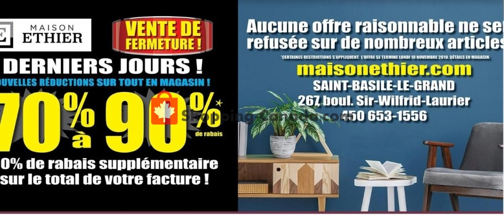 Flyer Maison Ethier Canada - from Wednesday November 6, 2019 to Tuesday November 12, 2019