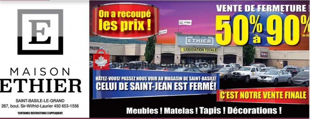 Flyer Maison Ethier Canada - from Wednesday October 9, 2019 to Tuesday October 15, 2019