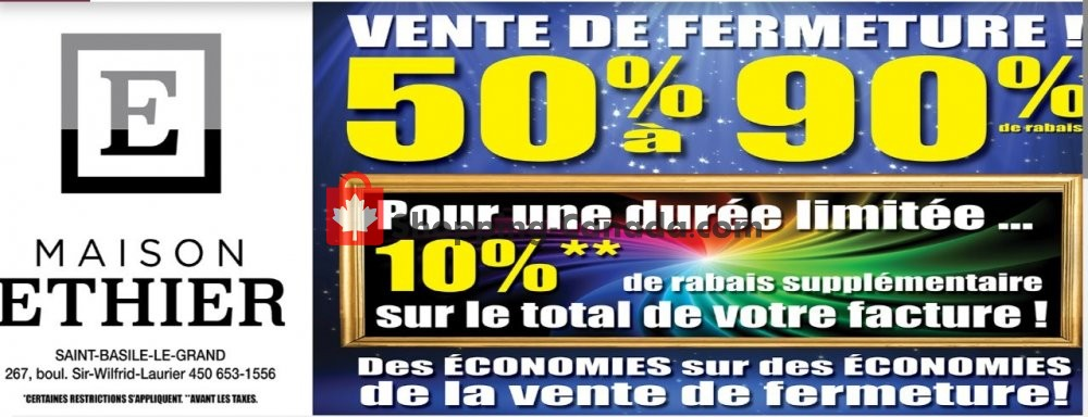 Flyer Maison Ethier Canada - from Wednesday October 2, 2019 to Tuesday October 8, 2019