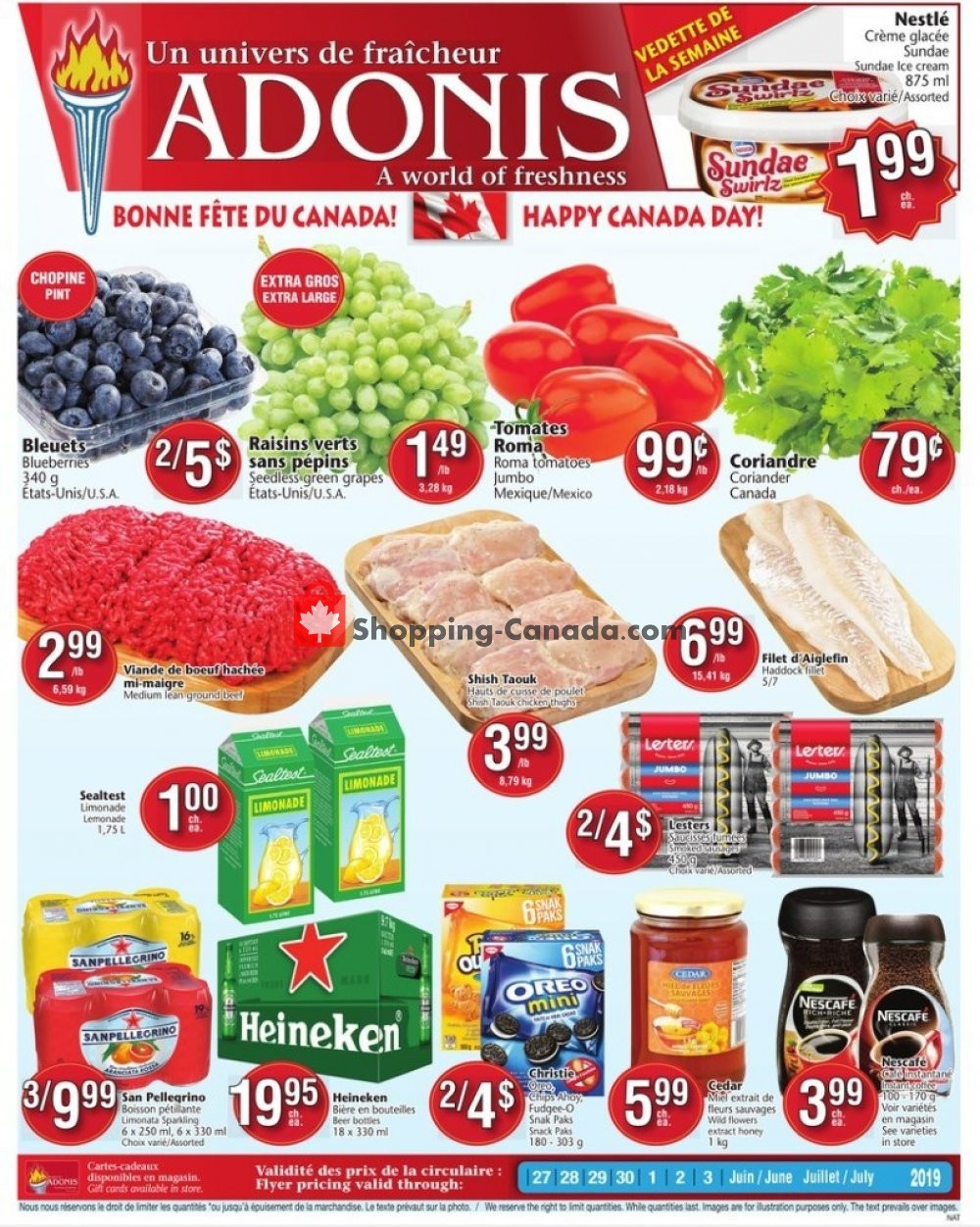 Flyer Marché Adonis Canada - from Thursday June 27, 2019 to Wednesday July 3, 2019