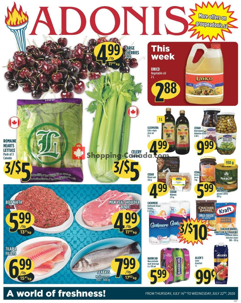 Flyer Marché Adonis Canada - from Thursday July 16, 2020 to Wednesday July 22, 2020