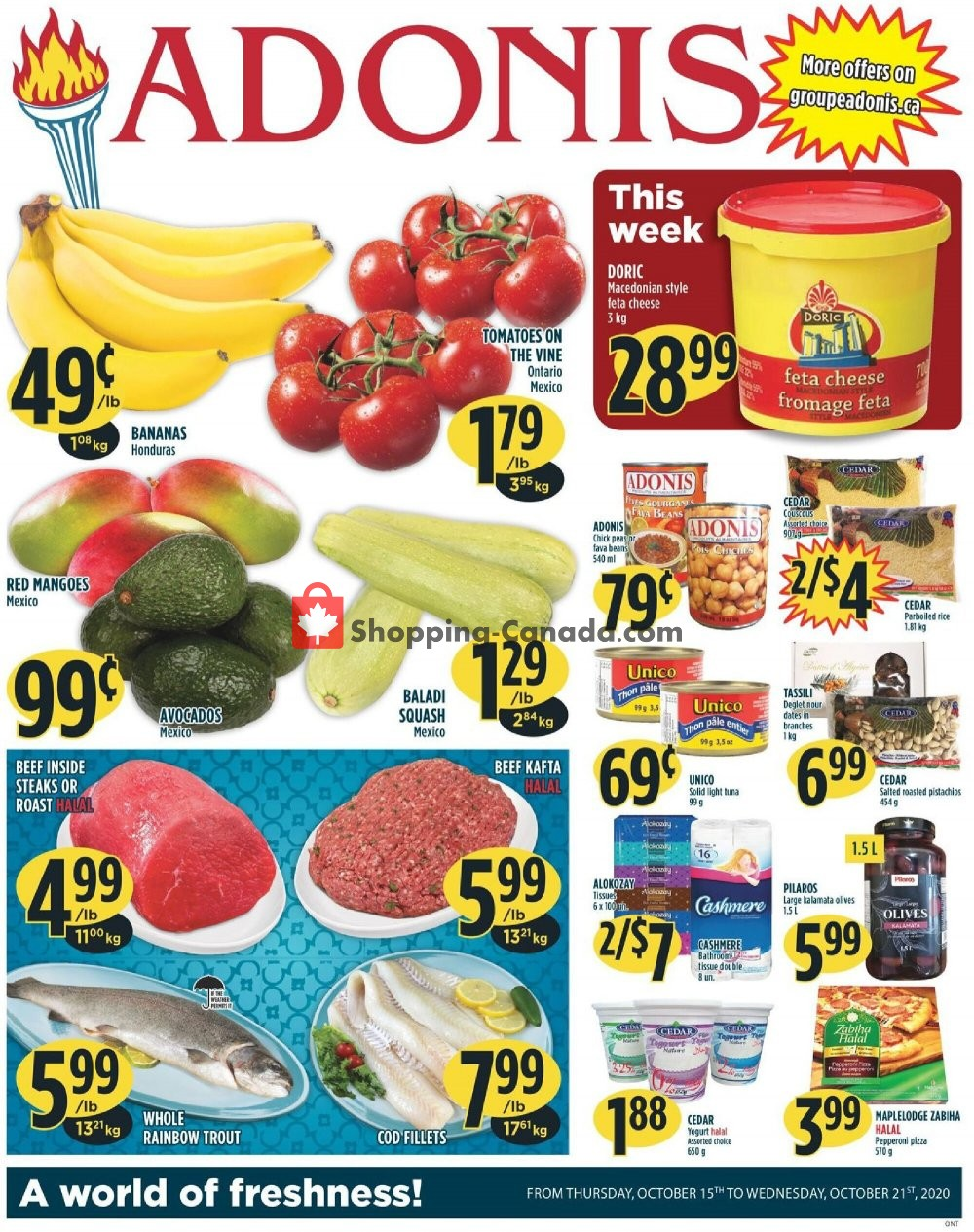 Flyer Marché Adonis Canada - from Thursday October 15, 2020 to Wednesday October 21, 2020