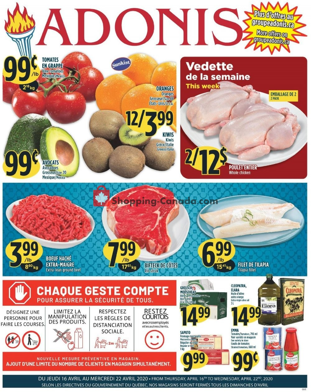 Flyer Marché Adonis Canada - from Thursday April 16, 2020 to Wednesday April 22, 2020