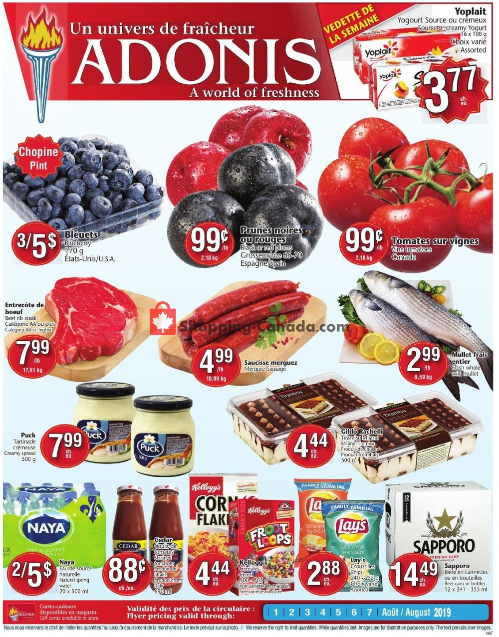 Flyer Marché Adonis Canada - from Thursday August 1, 2019 to Wednesday August 7, 2019