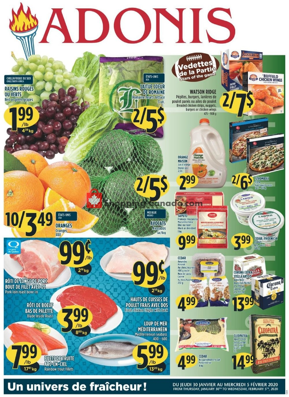 Flyer Marché Adonis Canada - from Thursday January 30, 2020 to Wednesday February 5, 2020