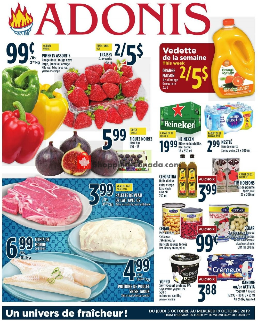 Flyer Marché Adonis Canada - from Thursday October 3, 2019 to Wednesday October 9, 2019
