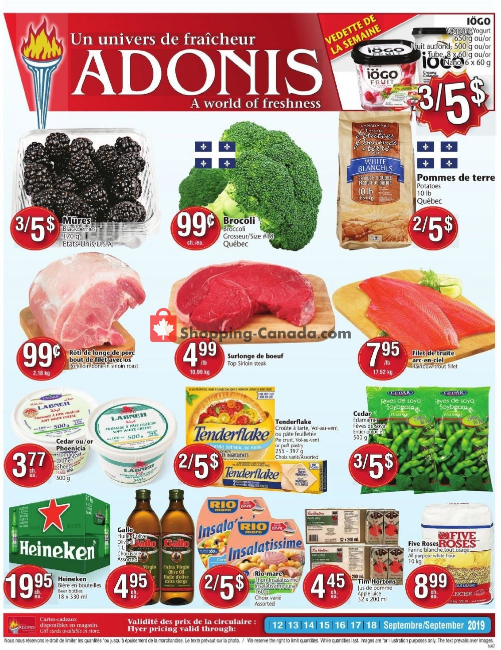 Flyer Marché Adonis Canada - from Thursday September 12, 2019 to Wednesday September 18, 2019
