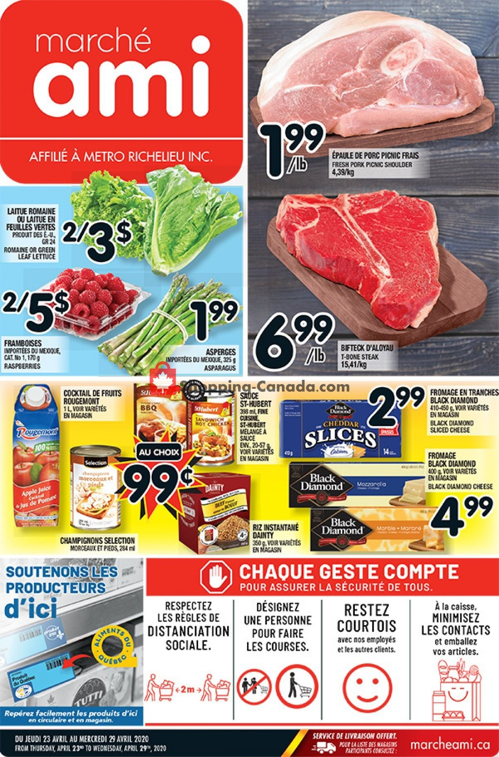 Flyer Marche Ami Canada - from Thursday April 23, 2020 to Wednesday April 29, 2020