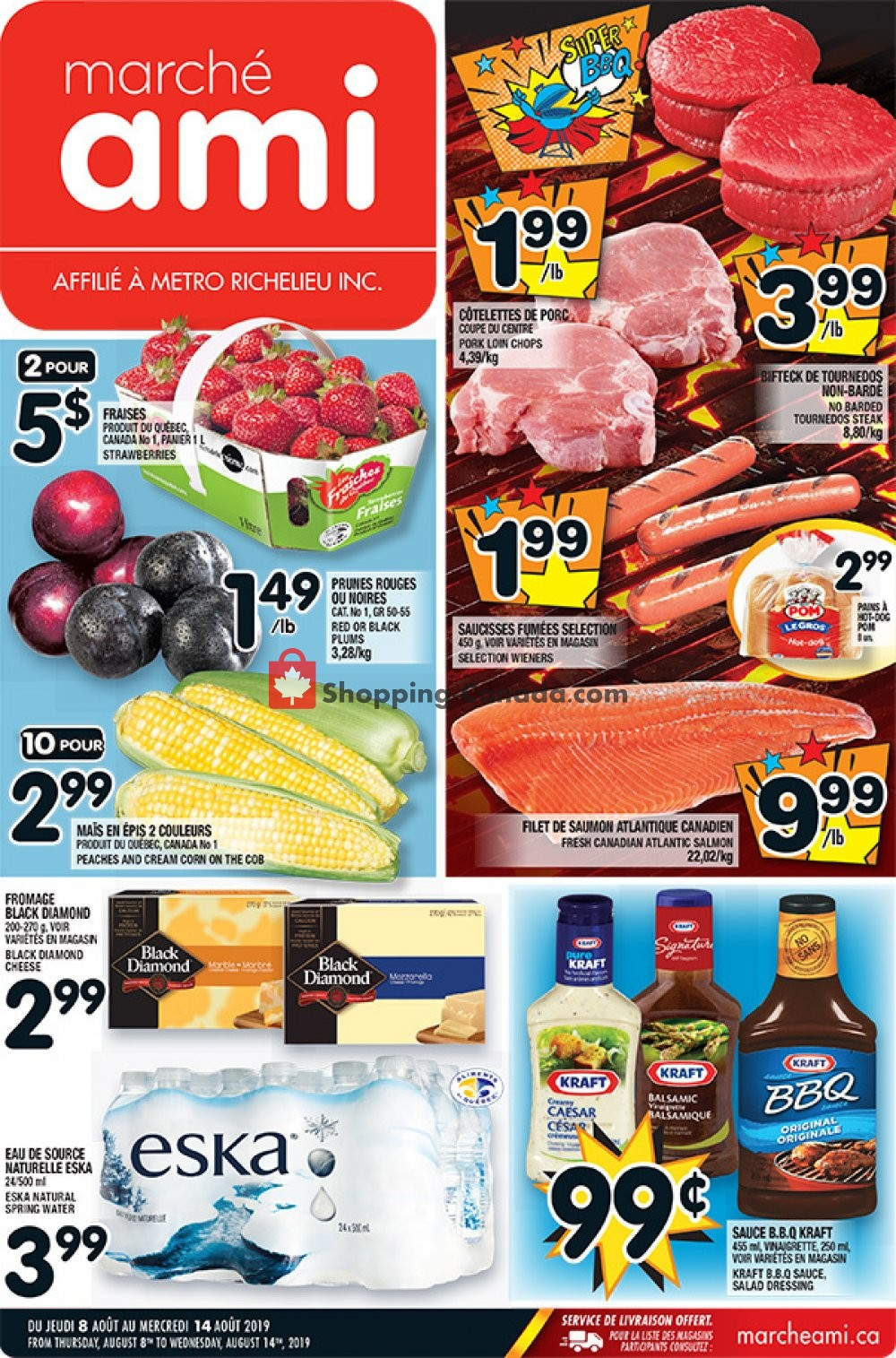 Flyer Marche Ami Canada - from Thursday August 8, 2019 to Wednesday August 14, 2019