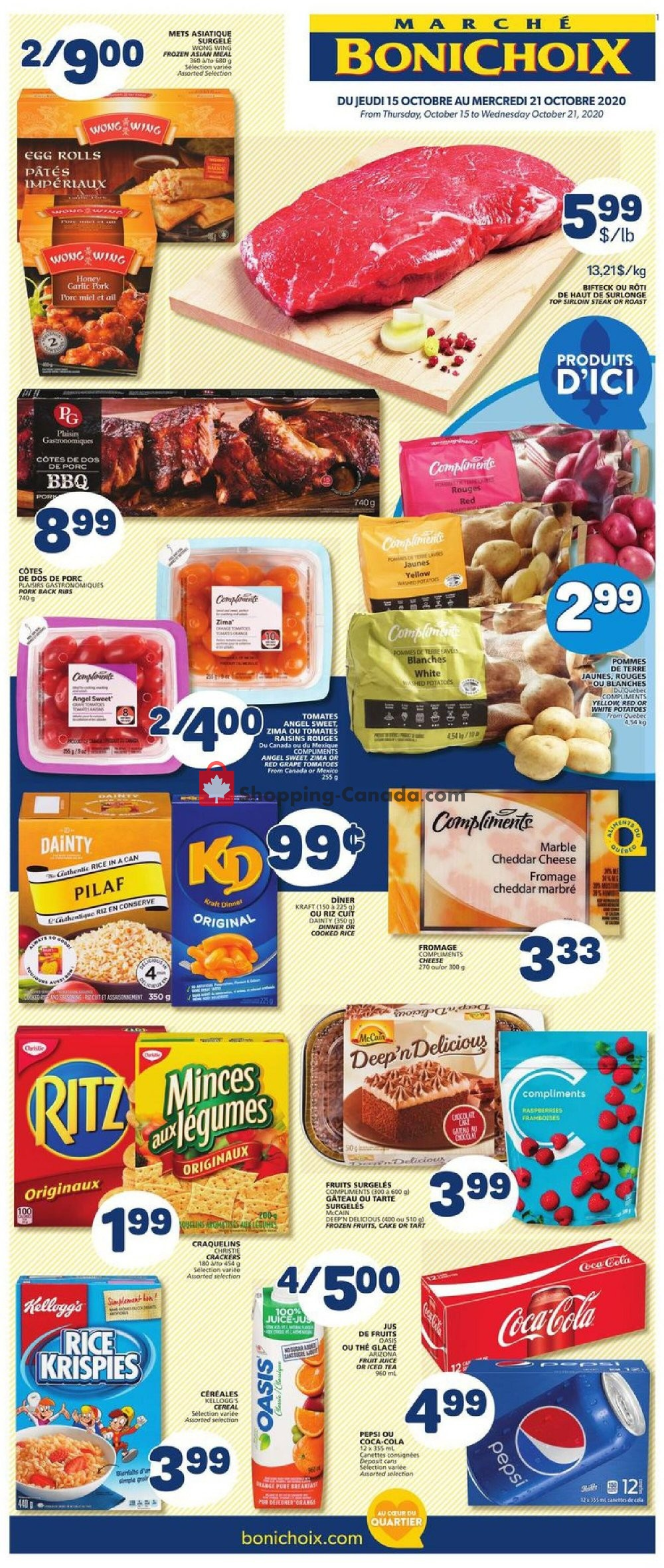 Flyer Marche Bonichoix Canada - from Thursday October 15, 2020 to Wednesday October 21, 2020