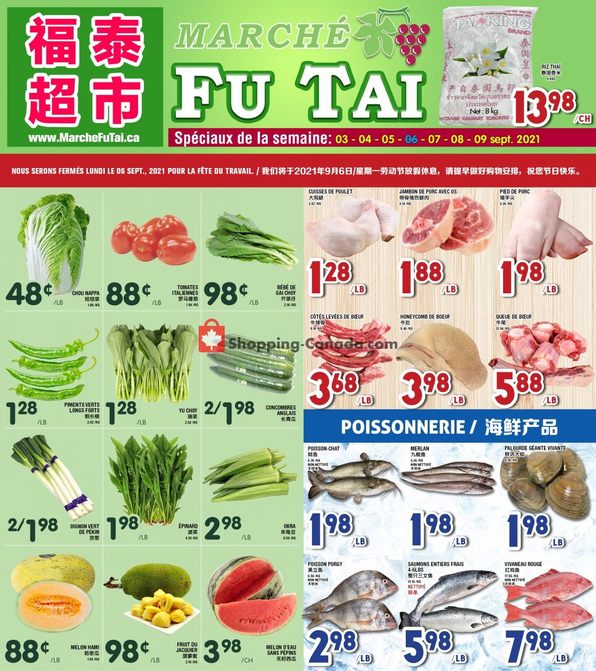 Flyer Marché Fu Tai Canada - from Friday September 3, 2021 to Thursday September 9, 2021