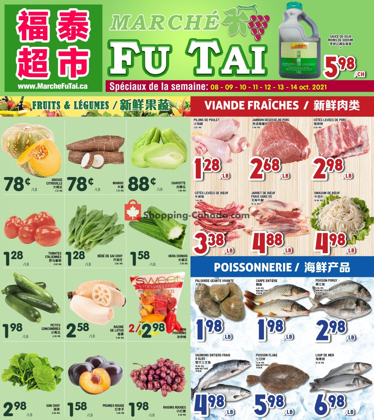 Flyer Marché Fu Tai Canada - from Friday October 8, 2021 to Thursday October 14, 2021