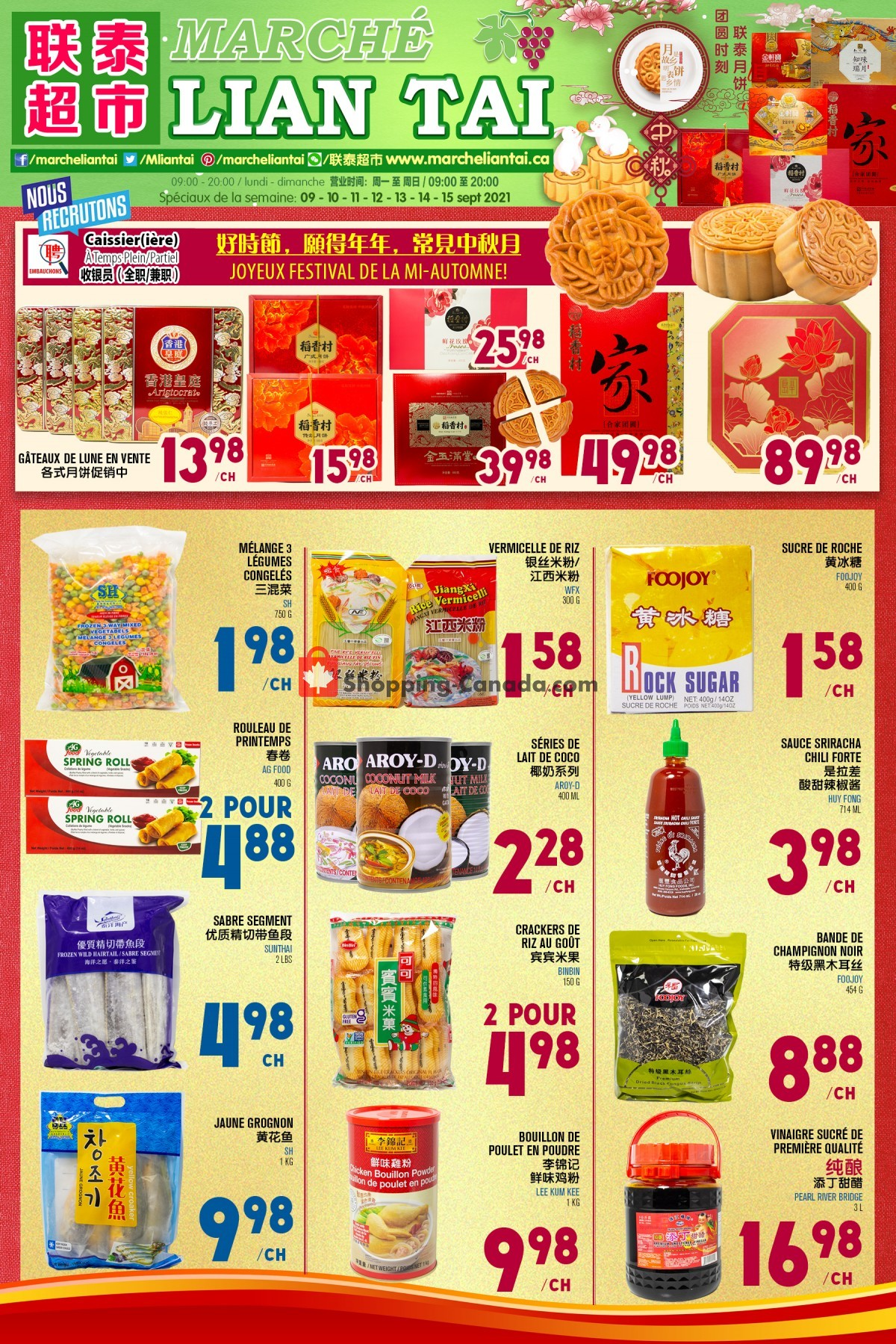 Flyer Marché Lian Tai Canada - from Thursday September 9, 2021 to Wednesday September 15, 2021