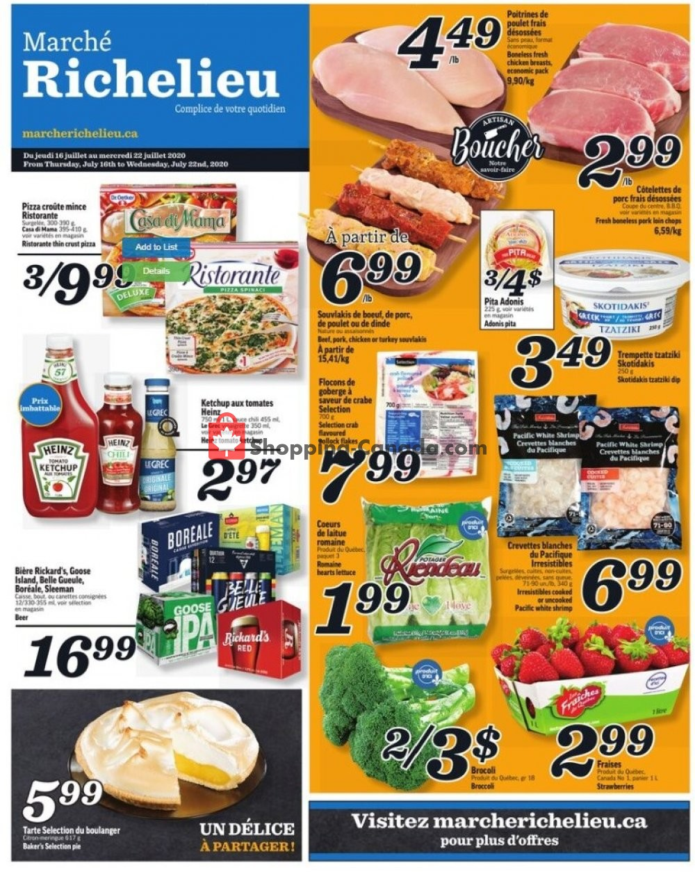 Flyer Marche Richelieu Canada - from Thursday July 16, 2020 to Wednesday July 22, 2020