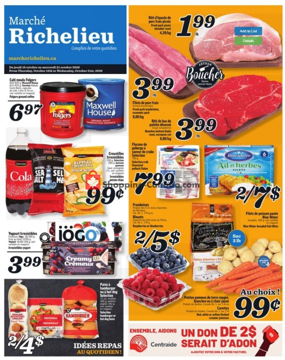 Flyer Marche Richelieu Canada - from Thursday October 15, 2020 to Wednesday October 21, 2020