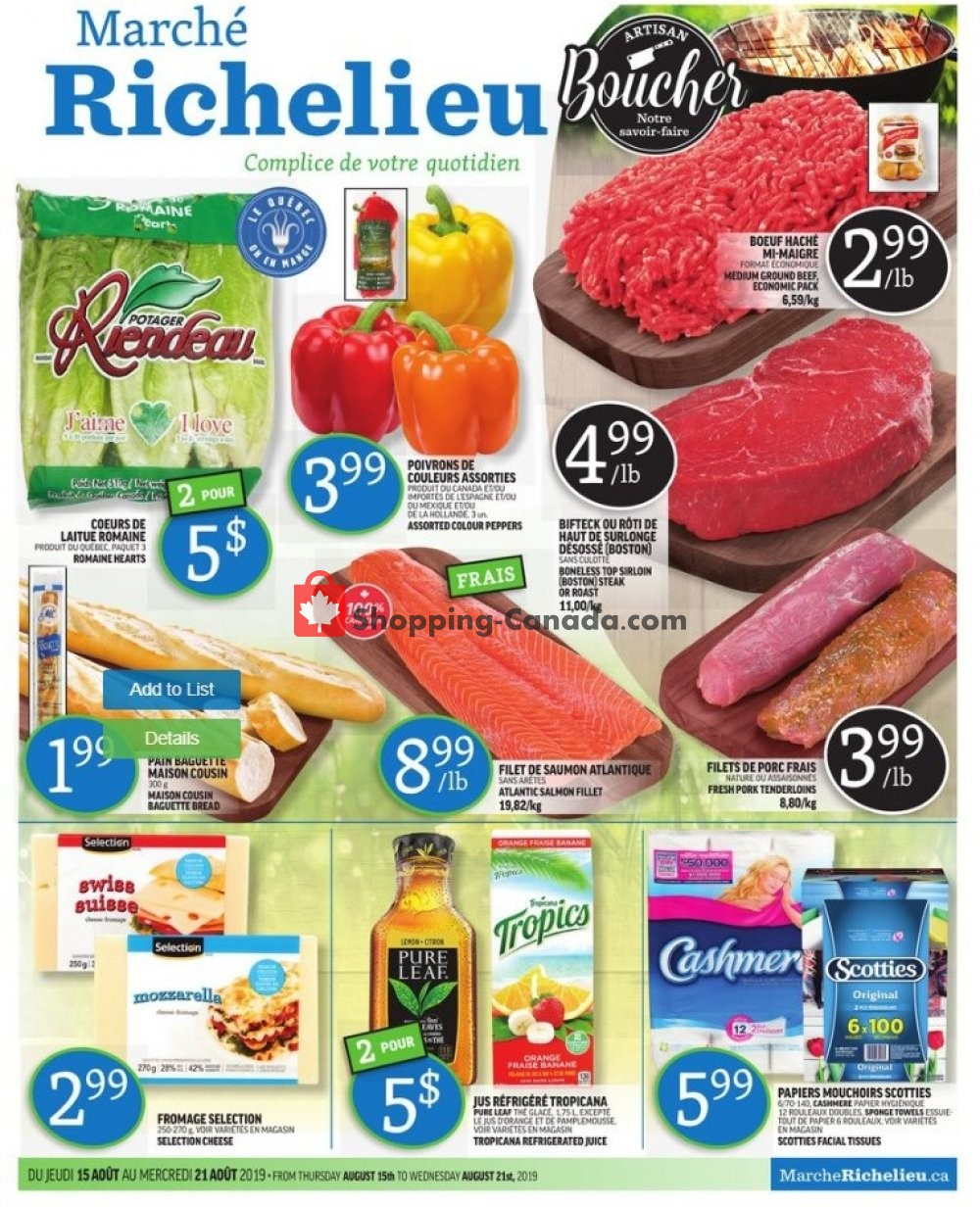 Flyer Marche Richelieu Canada - from Thursday August 15, 2019 to Wednesday August 21, 2019