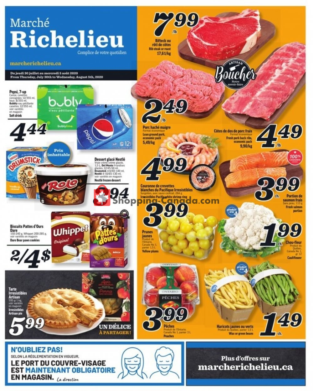 Flyer Marche Richelieu Canada - from Thursday July 30, 2020 to Wednesday August 5, 2020