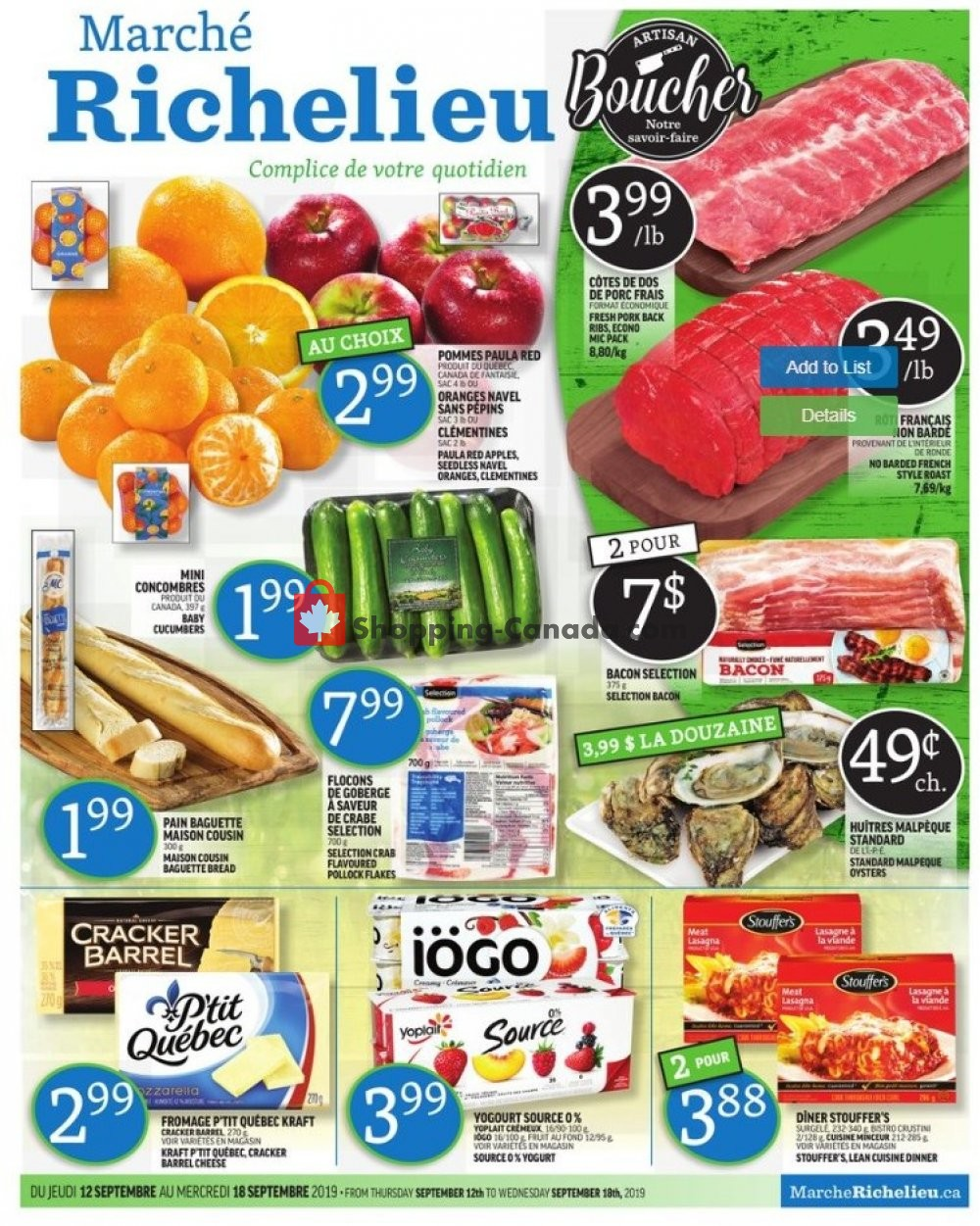 Flyer Marche Richelieu Canada - from Thursday September 12, 2019 to Wednesday September 18, 2019