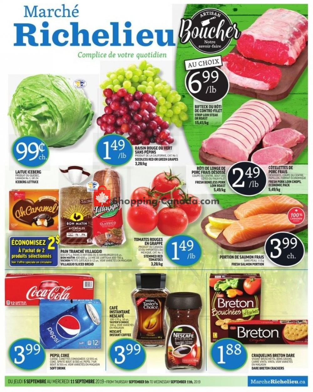 Flyer Marche Richelieu Canada - from Thursday September 5, 2019 to Wednesday September 11, 2019