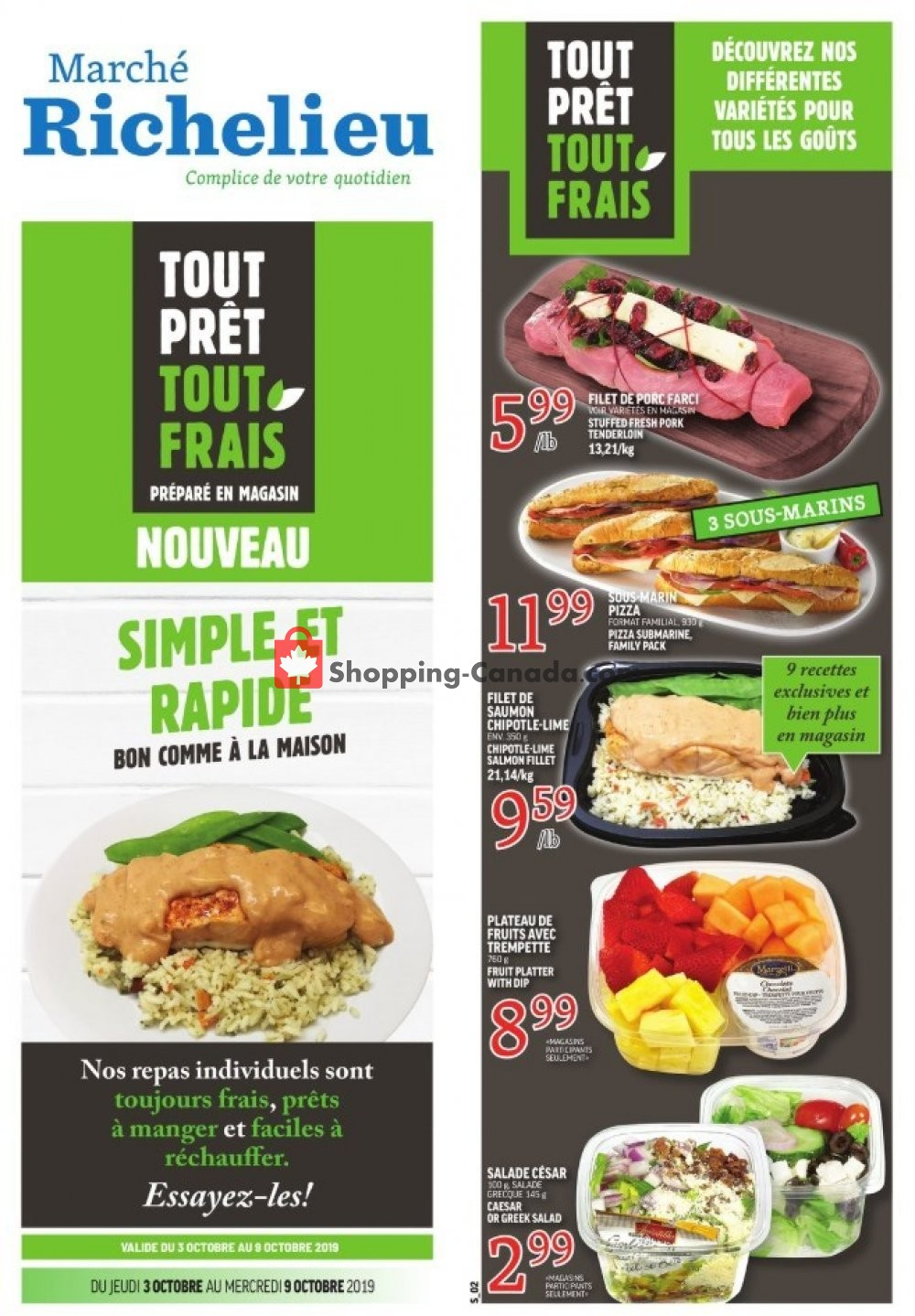 Flyer Marche Richelieu Canada - from Thursday October 3, 2019 to Wednesday October 9, 2019