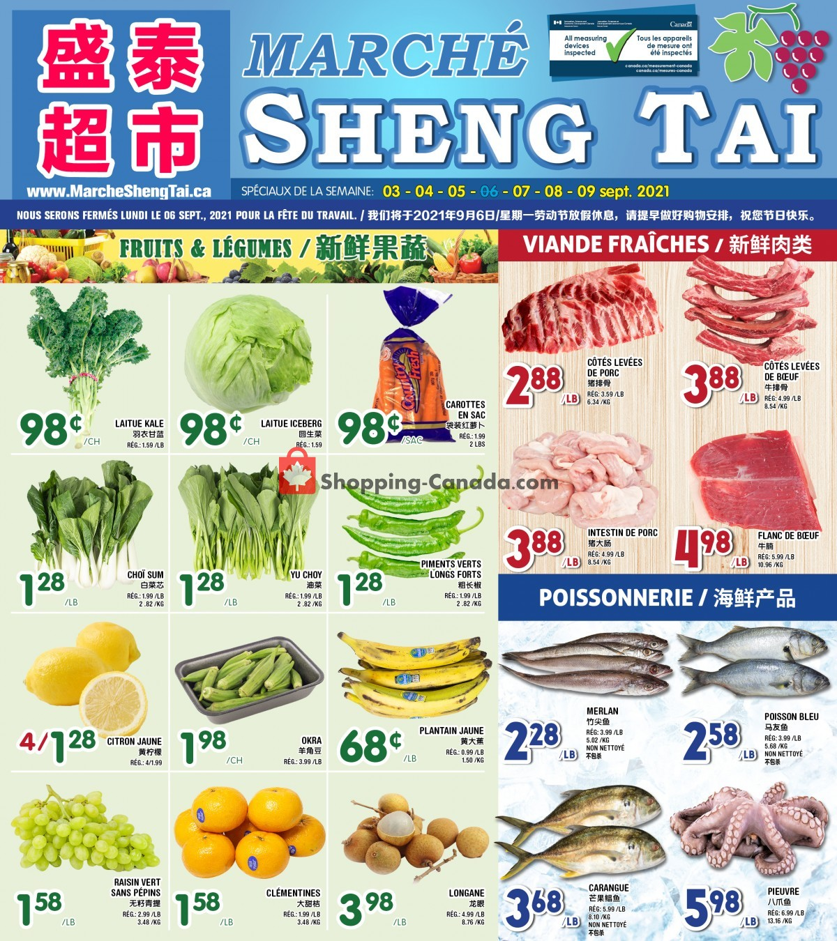 Flyer Marché Shengtai Canada - from Friday September 3, 2021 to Thursday September 9, 2021