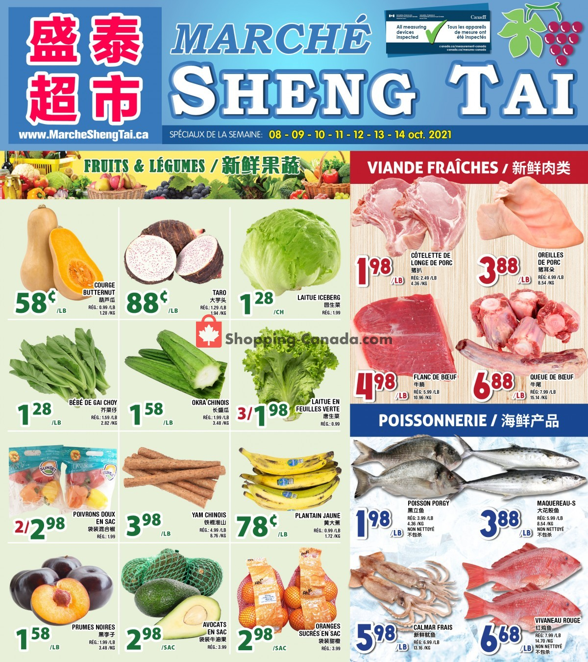 Flyer Marché Shengtai Canada - from Friday October 8, 2021 to Thursday October 14, 2021