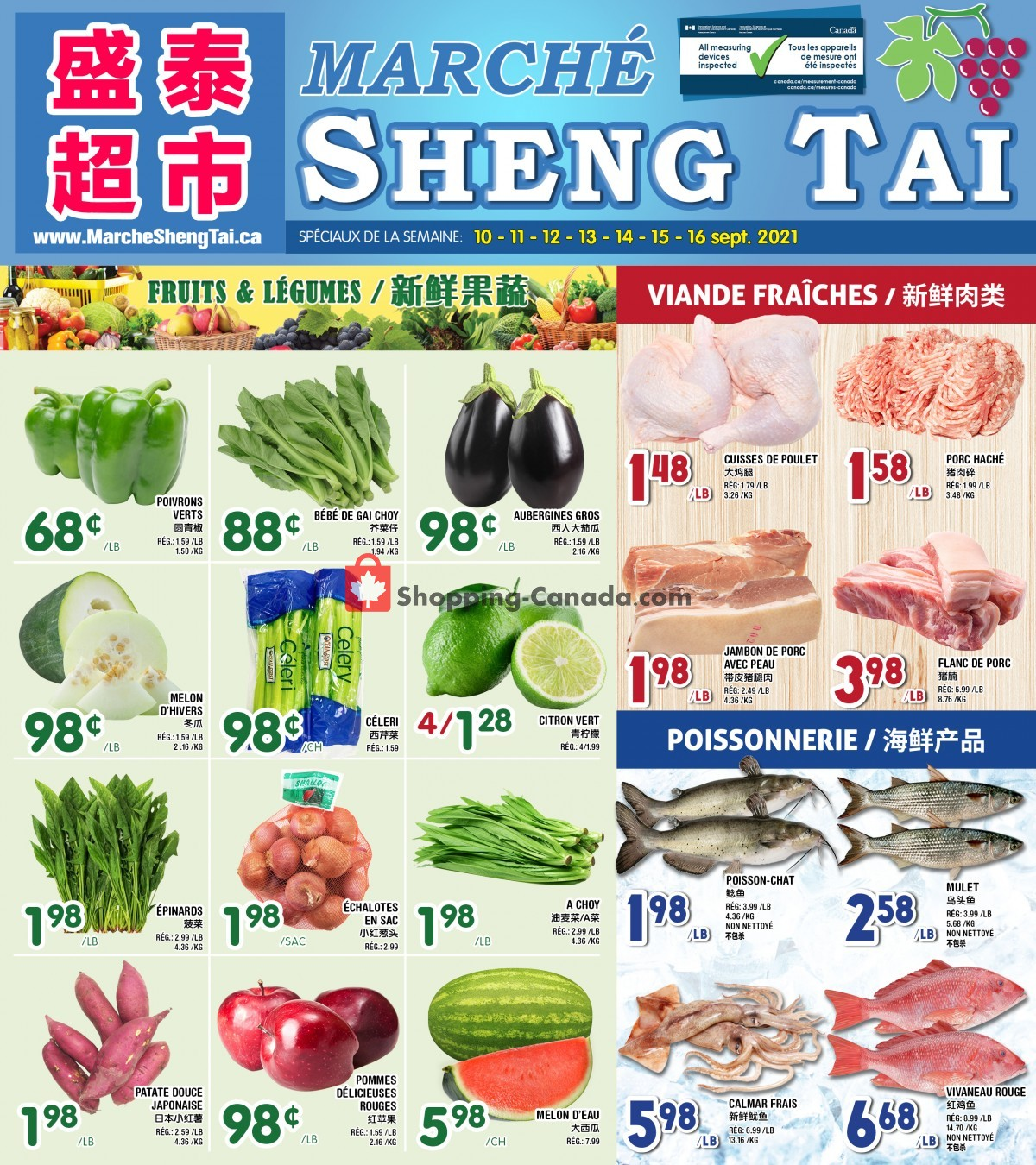 Flyer Marché Shengtai Canada - from Friday September 10, 2021 to Thursday September 16, 2021