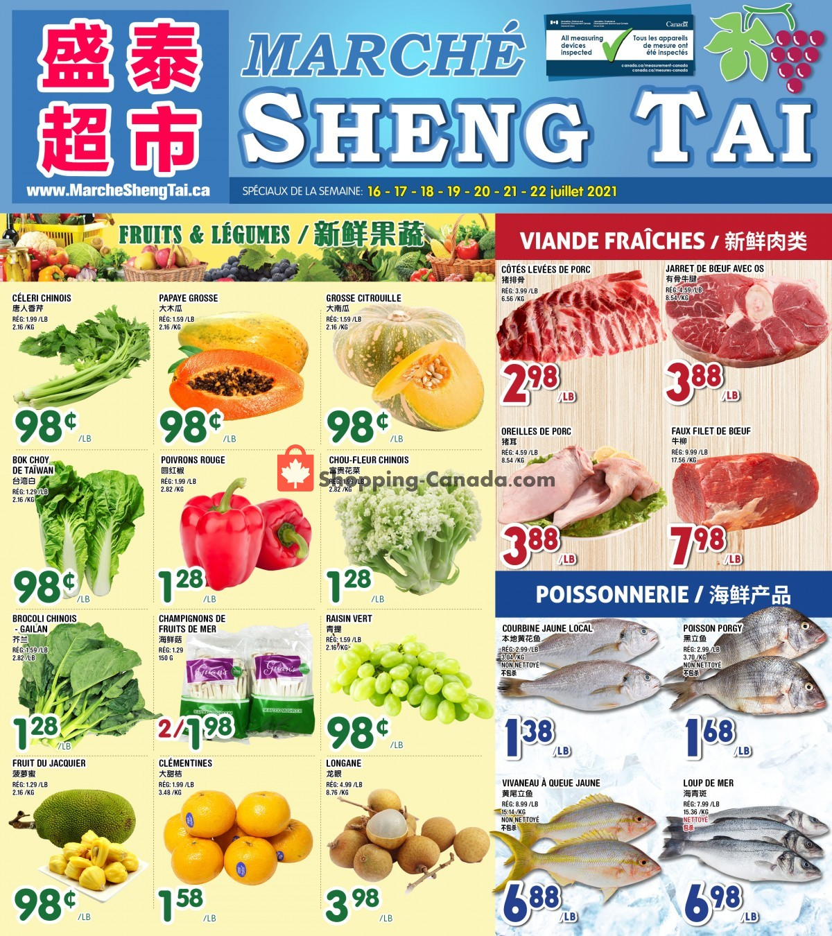 Flyer Marché Shengtai Canada - from Friday July 16, 2021 to Thursday July 22, 2021