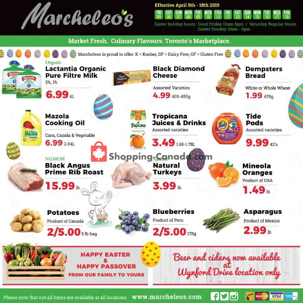 Flyer Marcheleo's Canada - from Friday April 5, 2019 to Thursday April 18, 2019