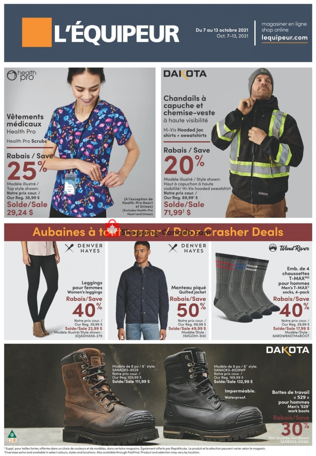 Flyer Mark's Work Wearhouse Canada - from Thursday October 7, 2021 to Wednesday October 13, 2021