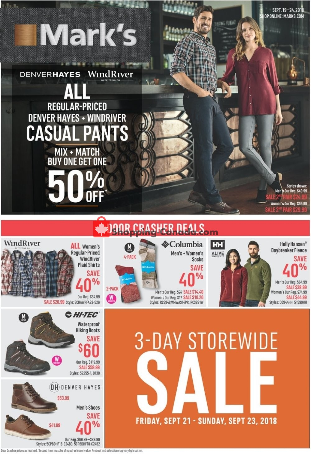 Flyer Mark's Work Wearhouse Canada - from Wednesday September 19, 2018 to Monday September 24, 2018