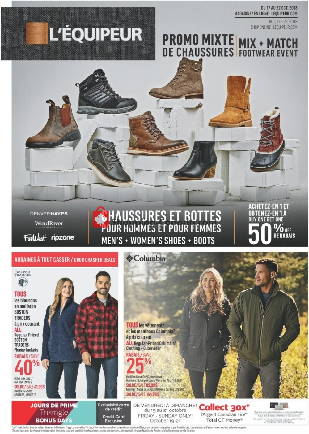 Flyer Mark's Work Wearhouse Canada - from Wednesday October 17, 2018 to Monday October 22, 2018