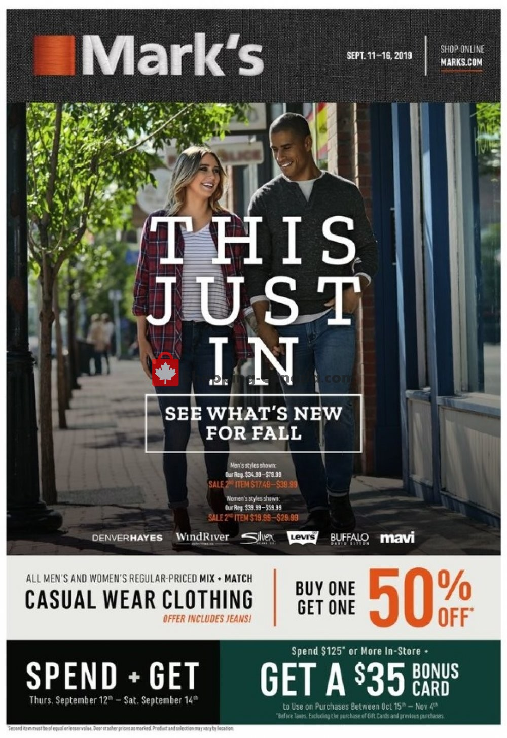 Flyer Mark's Work Wearhouse Canada - from Wednesday September 11, 2019 to Monday September 16, 2019