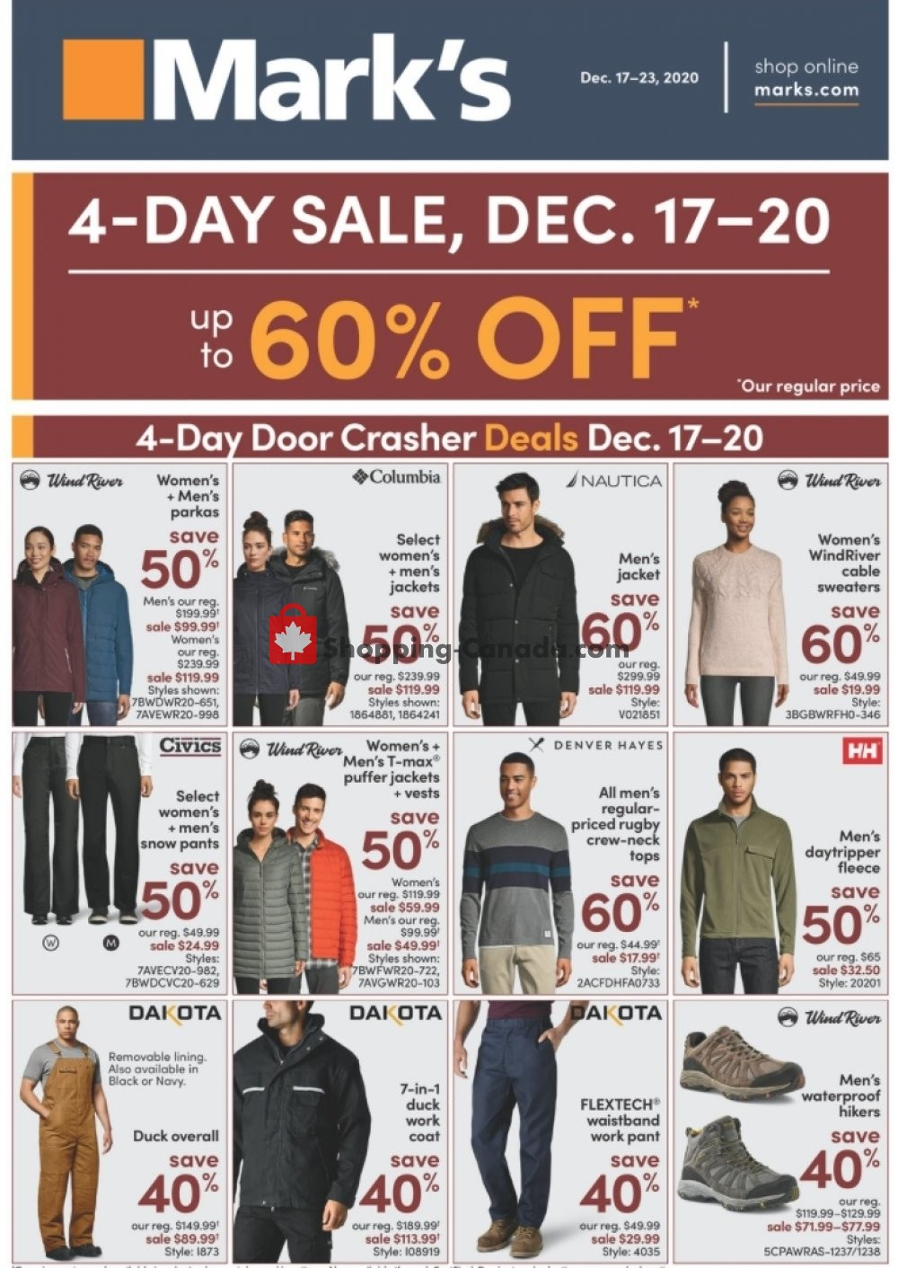 Flyer Mark's Work Wearhouse Canada - from Thursday December 17, 2020 to Wednesday December 23, 2020