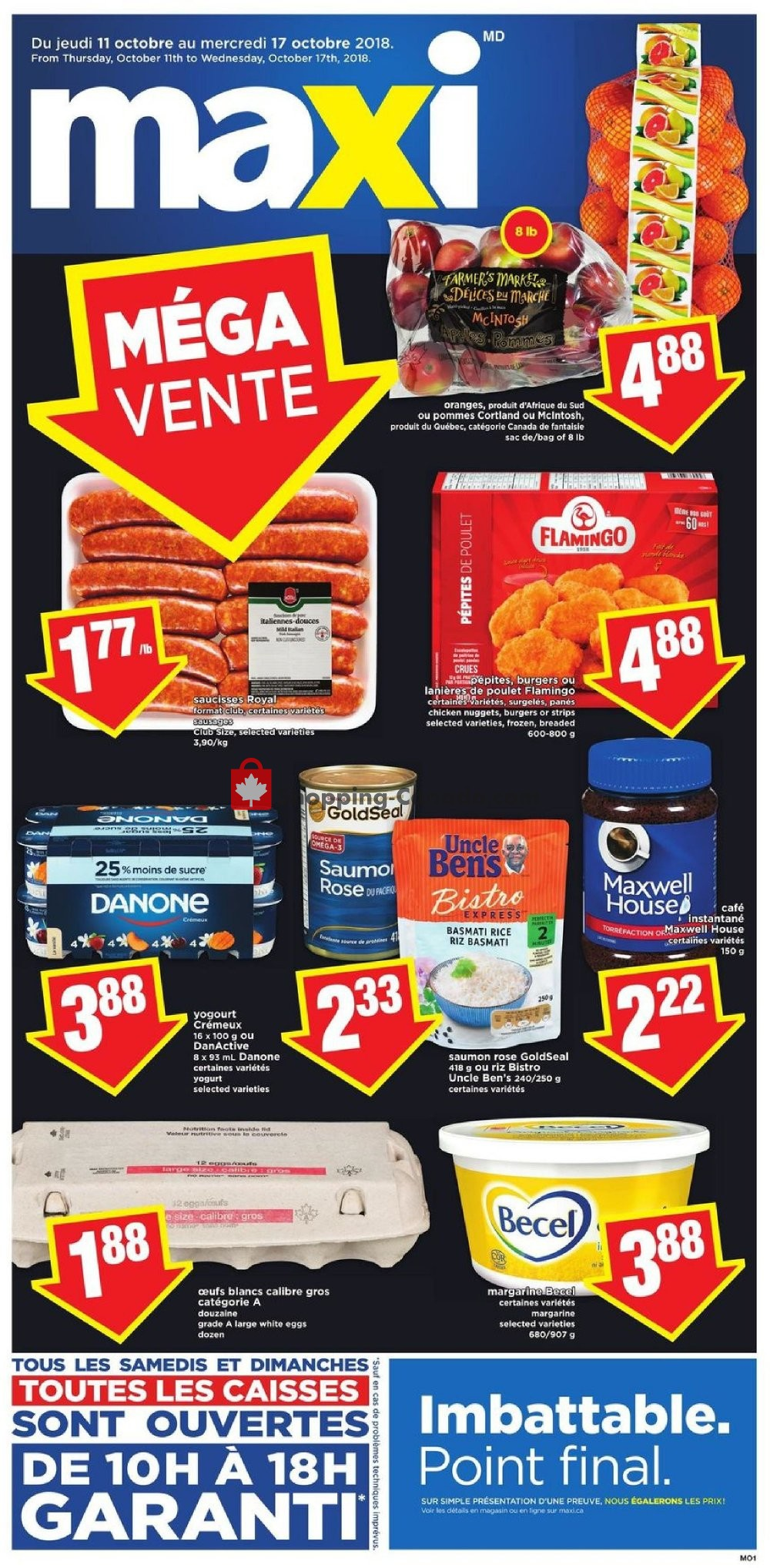 Flyer Maxi Canada - from Thursday October 11, 2018 to Wednesday October 17, 2018